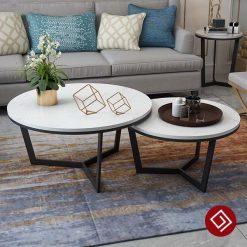 Bàn sofa tròn đôi mặt đá