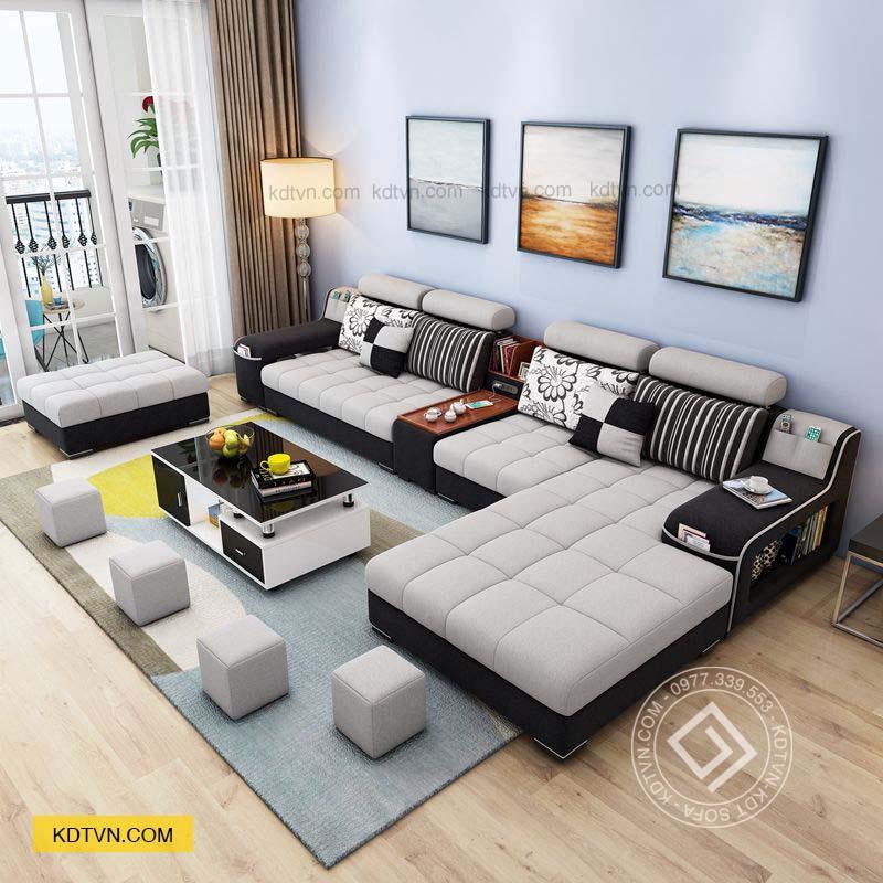Sofa nhà ống màu đen trắng