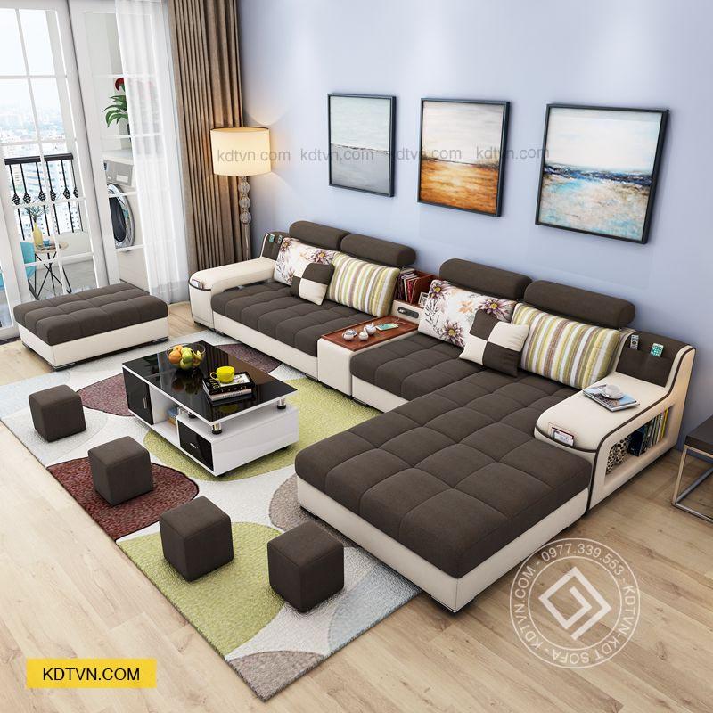 Sofa nhà ống màu nâu trắng