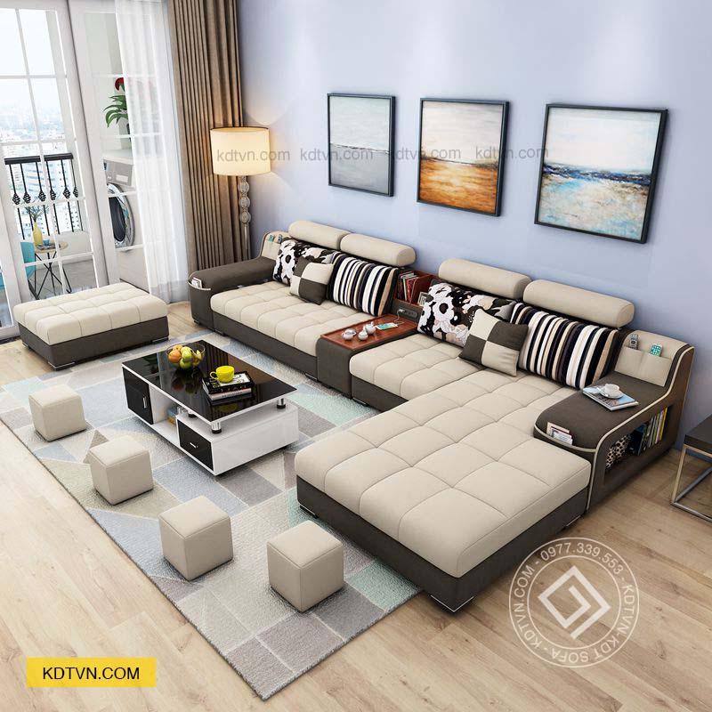 Sofa nhà ống màu trắng nâu