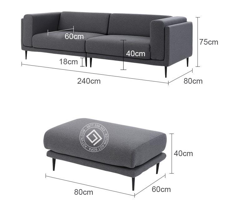 Kích thước mẫu sofa văng KD099
