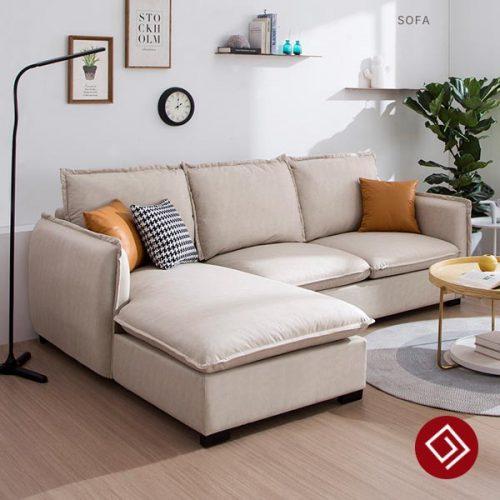 Mẫu sofa nỉ góc L hiện đại KD055